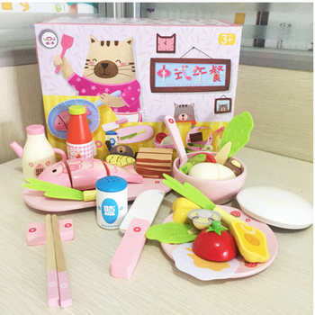 Pretend Toy Wooden Kitchen Toys Cutting Chinese Lunch Play Miniature Food Kids Wooden Baby Early Education Toy