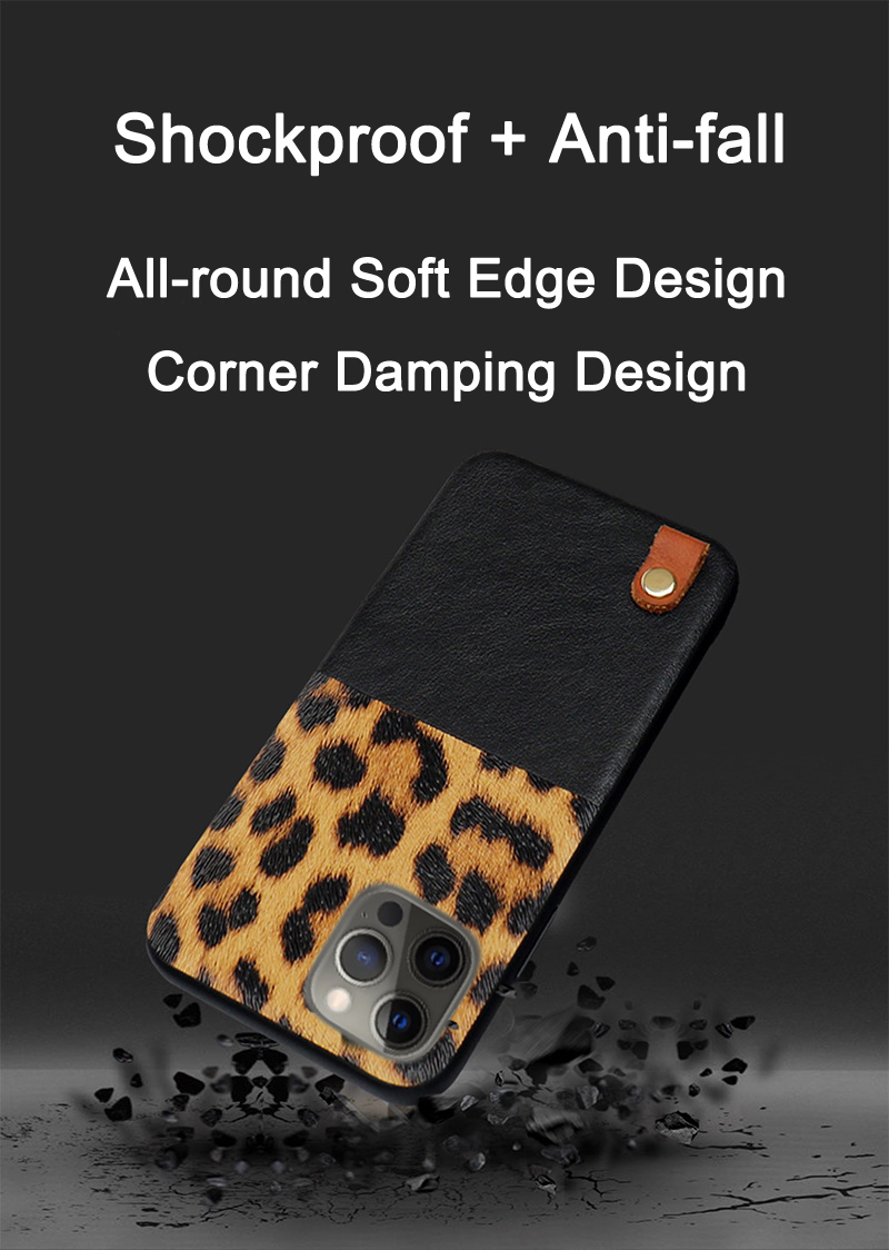 Leopard Pattern Stitching Leather Shockproof Soft Case for iPhone 12 Mini