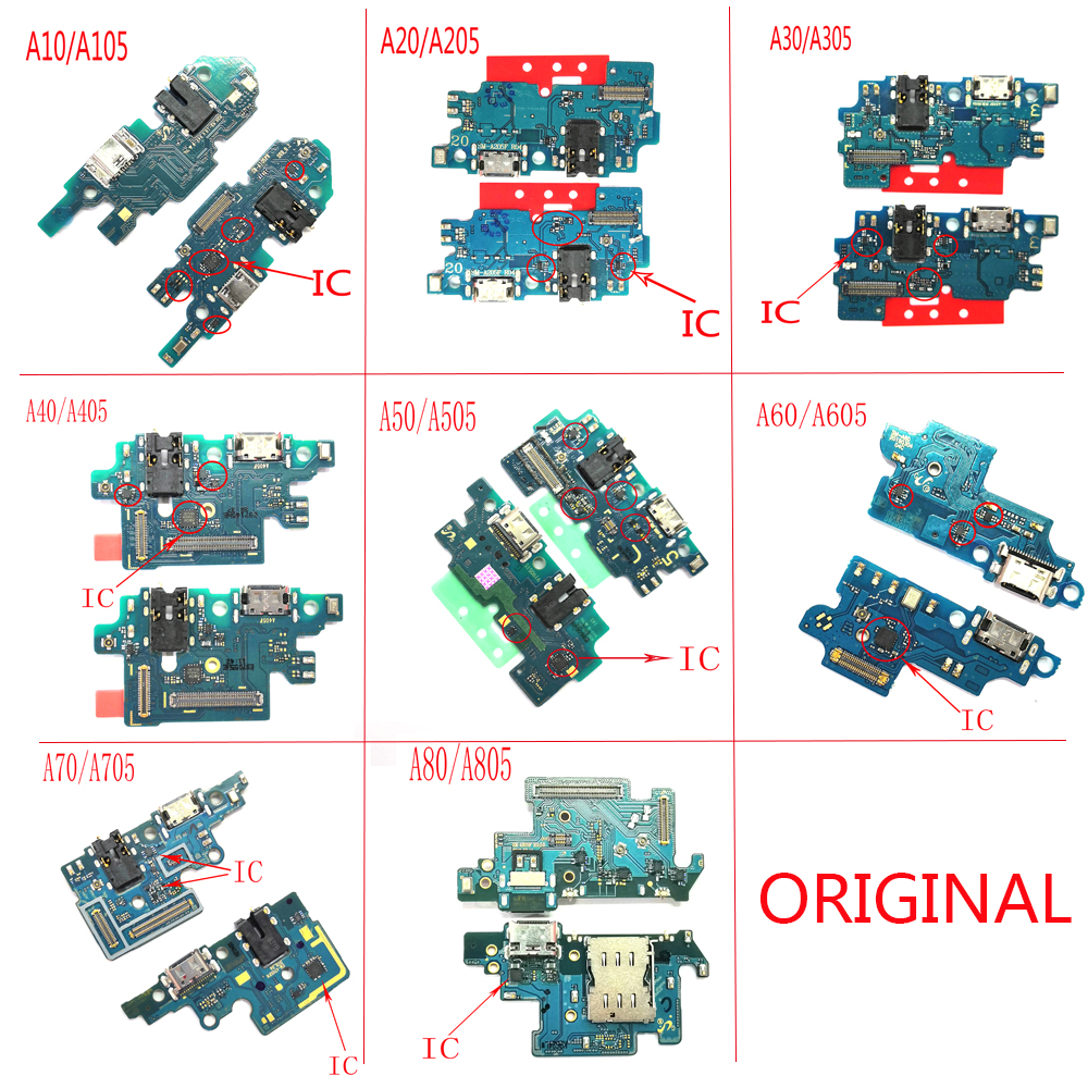 Original Charging Port Connector Board Parts Flex Cable With Microphone Mic For Samsung Galaxy A80 A70 A60 A50 A40 A30 A20 A10