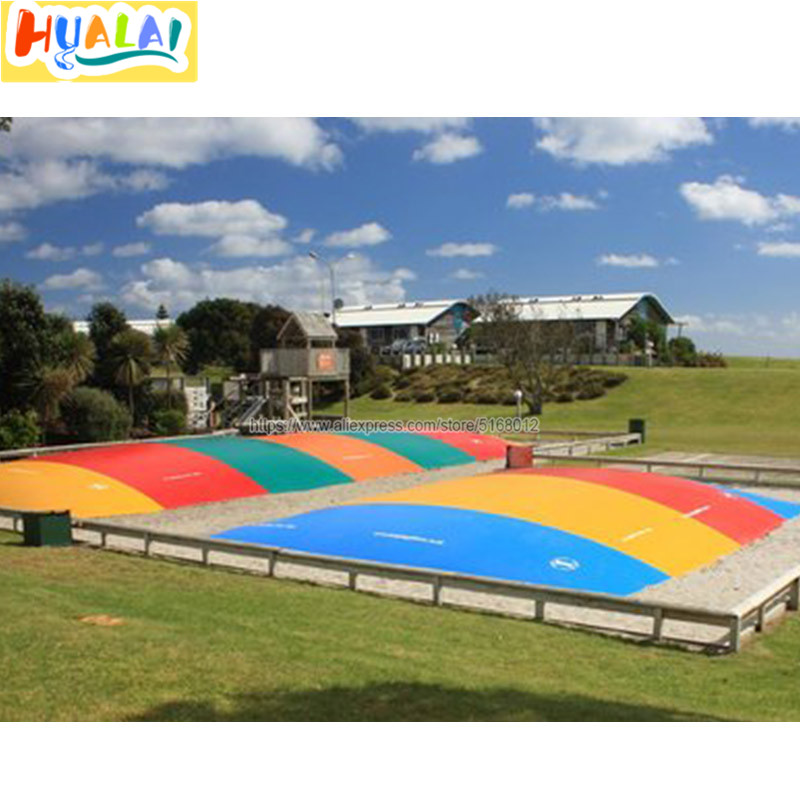 outdoor giant inflatable jumping pillow kangaroo jumper on land air bag jumping mattress trampoline with air blown pvc 8x6x2m