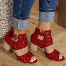 Gladiator Women Sandal Buckle Strap Fashion Shoes High Heel Woman Sandalias Mujer 2020 Summer Ladies Plus Size 35-43 For Mathias