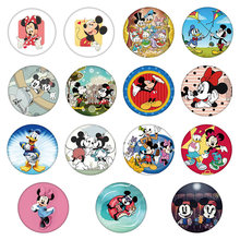 1Pcs Mickey Minnie Plastics Round Button Pins Cartoon Brooches Girls Kids Birthday Gift Costume Anime Badge on clothes hat(China)