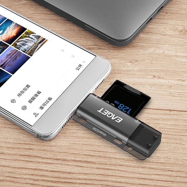 EAGET EZ08 Card Reader, Type-C Micro-USB USB 3.0 OTG High Speed Memory Card Portable  Multi-Function with for SD/TF Card Slot 5