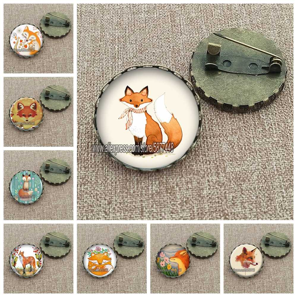 Cute Fox and Flower Women Pattern Glass Cabochon Brooch Lovely Animal Charm Pin Gift for Girl and Boy