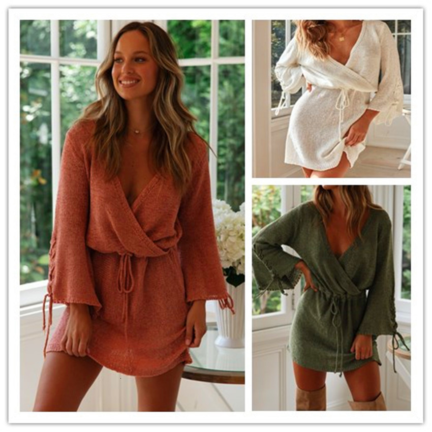BacklakeGirls 2019 Autumn Winter Loose Pullovers Sexy V Neck Long Sleeve Cocktail Dress Simple Party Dress Gala Jurk Plus Size