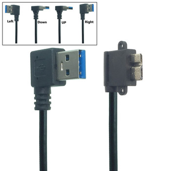 USB 3.0 Type A 90 Degree UP&Down&Left& Right Angled to Micro B Male Cable for Samsung S5 Note 3 HDD External Hard Drive Disk недорого