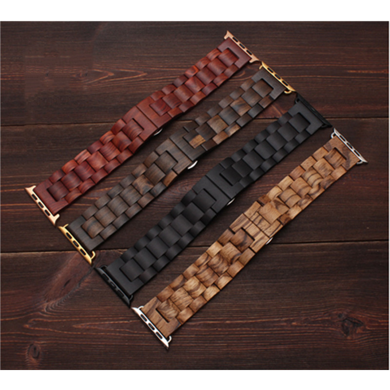 Natural Wood Watch Bracelet for Apple Watch Band 38/42mm Luxury Watch Accessories for IWatch Strap Watchband with Adapters