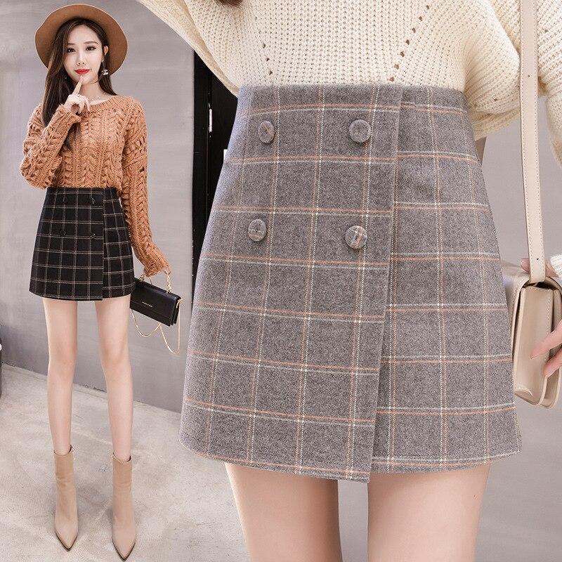 Photo Shoot 2019 Autumn & Winter Woolen Ban Shen Ku Skirt High-waisted A- Line Skirt Women's Plaid Sheath Short Skirt