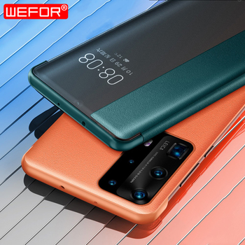 for Huawei P40 Pro case, Genuine Leather Flip Case with View Window Stand Kickstand Smart Sleep/Wake Up Magnetic Case for Hauwei open view window case for bq bqs 4072 strike mini 5020 strike 5022 bond 5035 velvet leather flip cover magnetic stand case