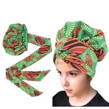 African Satin Lined Bonnets Kids girls Turban Hat Women Extra Large Hat Ankara Long Ribbon Headwrap Ankara Hair Bonnet Hat