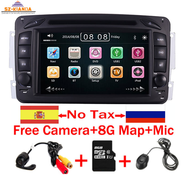 2din 7 inch CAR DVD PLAYER For Mercedes <font><b>Benz</b></font> CLK W209 <font><b>W203</b></font> W463 3g GPS Bluetooth <font><b>Radio</b></font> Stereo Car Multimedia <font><b>Navi</b></font> System image