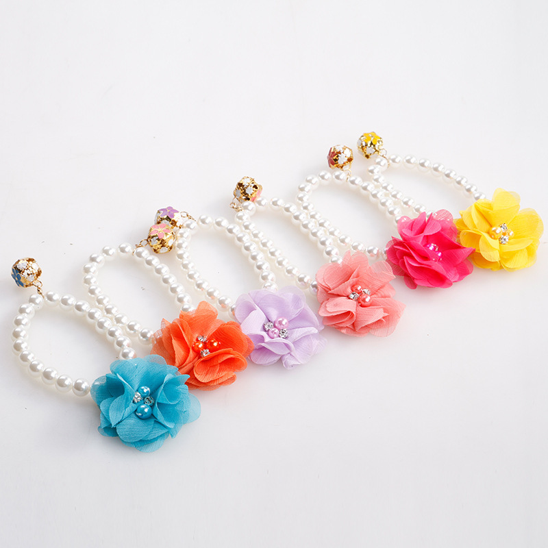 Flower Elasticity Neck Ring Pet Pearl Necklace Collar Cat Accessories Teddy Small And Medium Dog Collar