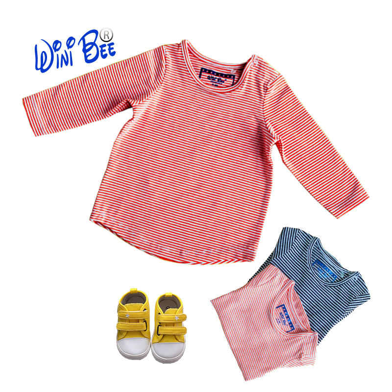 T-shirt for Girl Baby Clothes Long Sleeve Top Baby Tee Newborn Baby Girl Clothes Children's T-Shirt Yarn Dyed Stripe 0-24Months