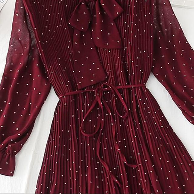 Polka dot elegant women dress casual Flare sleeve long party dress bow Dot print Pleated chiffon dresses vintage vestido 6