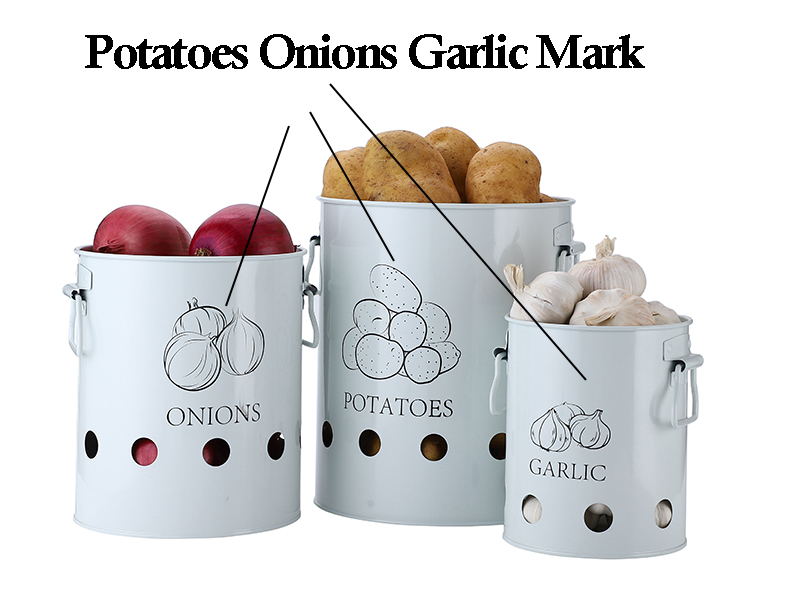 Breathable Kitchen Container Set and Food Storage Bins with 2 Handles for Storing Potatoes and Onions 14