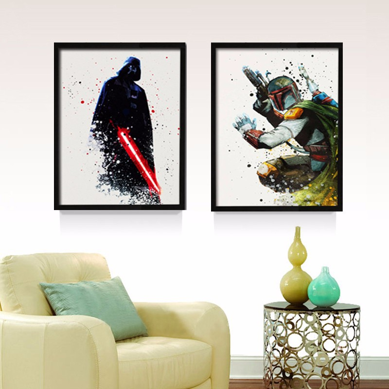 Original Star Wars Canvas Wall Art Movie Poster Oil Painting Living Room Children's Room Decoration Painting Picture Print image