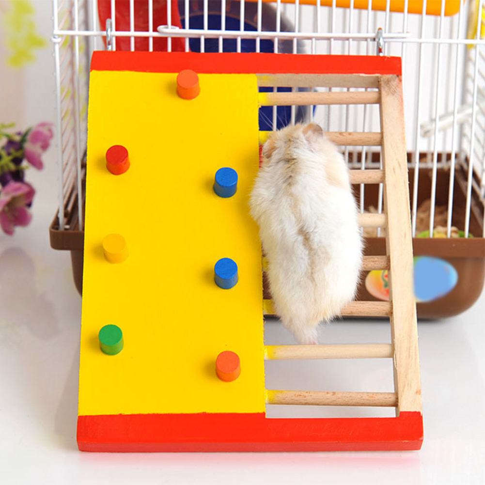 Lightweight Small Pet Rat Wooden Rest Climbing Ladder Play Squirrel Multi Purpose Colorful Non Toxic Hamster Toy Guinea Pig Fun