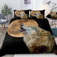3D Волк пододеяльник набор постельное белье со зверями желтая Луна пододеяльник черный домашний текстиль с изображением воющего волка кровать набор подростков 3 шт Прямая поставка