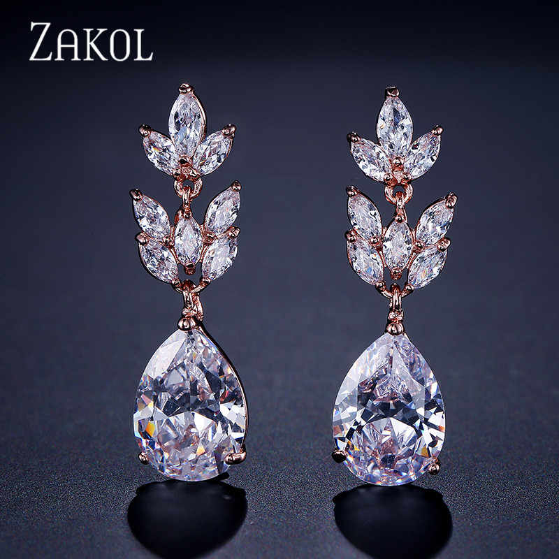 ZAKOL Romantic Bridal Wedding Accessories Jewelry Exquisite Cubic Zircon Dangle Earrings With Rose Gold Color FSEP012