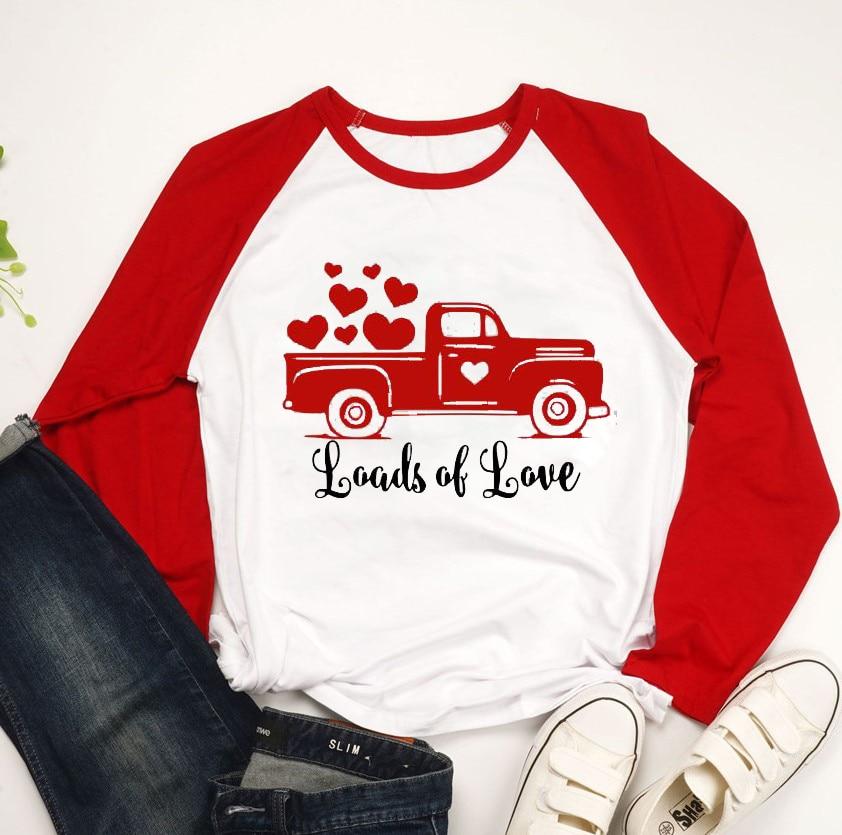 Loads of Love women three-quarter sleeve t-shirt Valentine's Day Red Truck Vintage Raglan Valentine's gift shirt fashion tees
