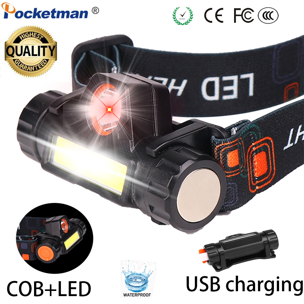 Super Bright Waterproof Head Torch//Headlight LED USB Rechargeable Headlamp Work