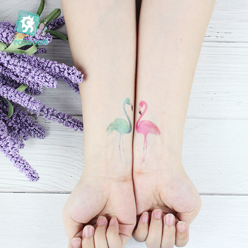1 Sheet Sweet Pink And Colorful Couple Flamingos For Valentine's Day Body Art Temporary Hand Fake Tattoos Waterproof Taty