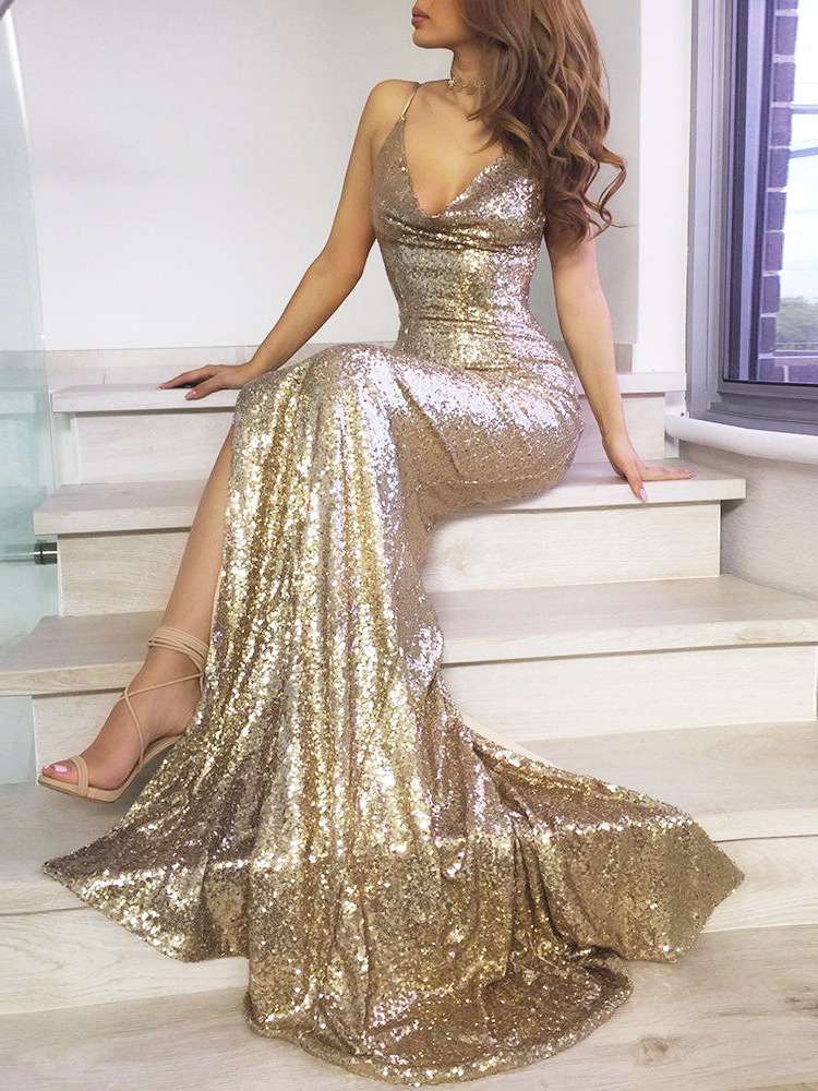 Sparkling   Prom     Dresses   2019 V neck Sold High Split Sequin Sweep Train Evening Gown Mermaid Spaghetti Straps Backless Vestido De