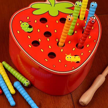 Wooden-Toys Worm Catch Strawberry-Apple Magnetic Baby Cognitive Puzzle Game-Color Early-Childhood