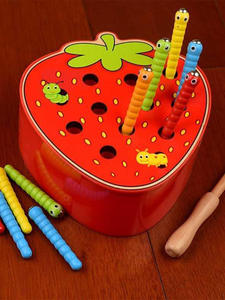 Wooden-Toys Worm 3d Puzzle Game-Color Strawberry-Apple Early-Childhood Magnetic Baby