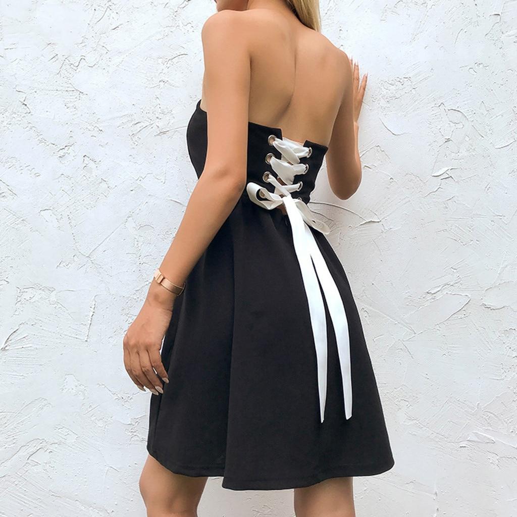 US $18.18 18% OFFSchwarz Sommer Strand mini Kleid Chiffon Bandeau Kleid  Verband Kleid Einfarbig Midi Kleider Bankett Urlaub Sommerkleid Robe