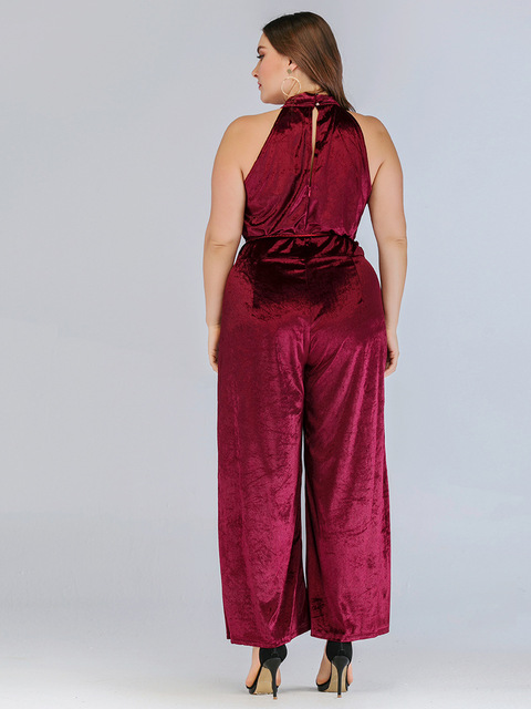 2020 spring summer plus size jumpsuit for women large sleeveless off shoulder slim casual long jumpsuits belt red 4XL 5XL 6XL 5