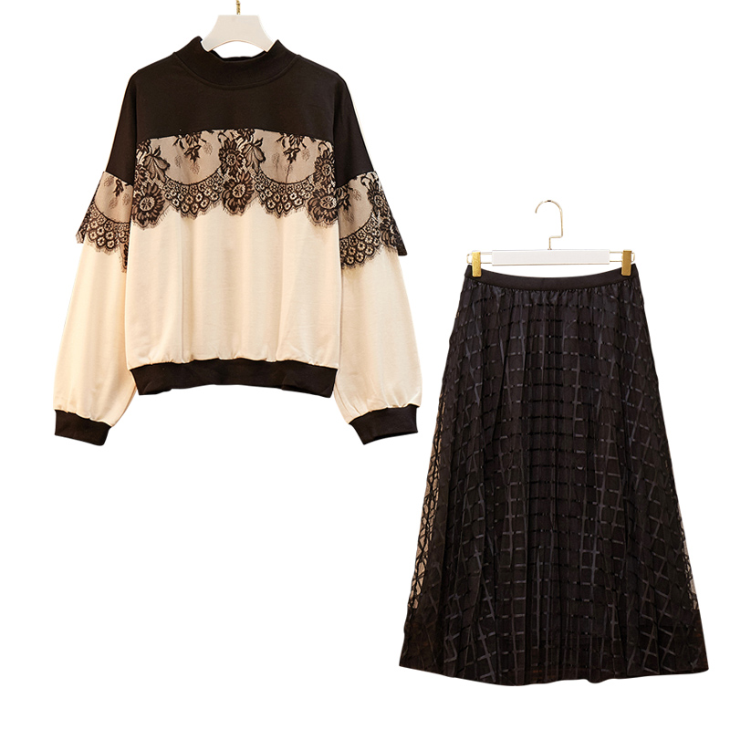 Large Plus Size Knitted Suit Women Sweater Skirt Suits Pullover+Mesh Skirt Two Piece Set Female Autumn Winter Warm Suit Big 4XL