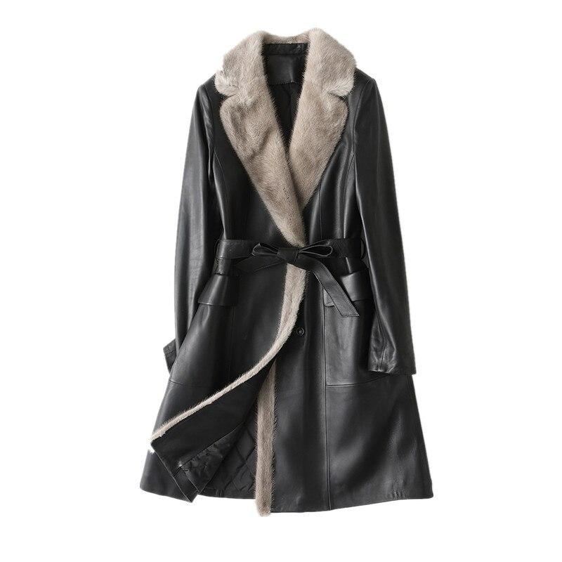 Genuine Leather Jacket Women Sheepskin Leather Jacket Winter Warm Mink Fur Collar Down Cotton Coat HQ18-YY1079B MF241