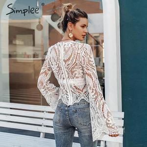 Image 4 - Simplee 섹시한 속이 빈 레이스 자수 여성 블라우스 셔츠 우아한 플레어 슬리브 여성 파티 셔츠 투명 숙녀 탑 셔츠