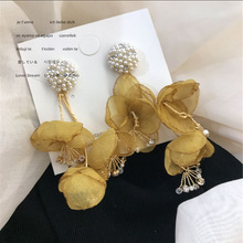 2020 Korean Vintage Pearl Earrings Handmade Crystal Earrings For Women Fabric Flower Tassel Long Drop Earrings Fashion Jewelry