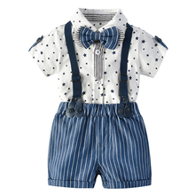 Newborn Baby Boy Romper Bow Tie Outfit Suit Toddler Stars Summer Gentleman Jumpsuit + Suspenders