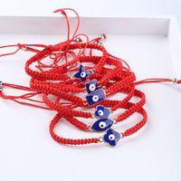 6Pcs Blue Evil Eye Lucky Kabbalah Red String Braided Bracelets Fashion Jewelry