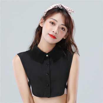 Womens Detachable Fake False Collar Black White Chiffon Half Shirt Blouse Top Adjust Female Sweater Clothes Accessories