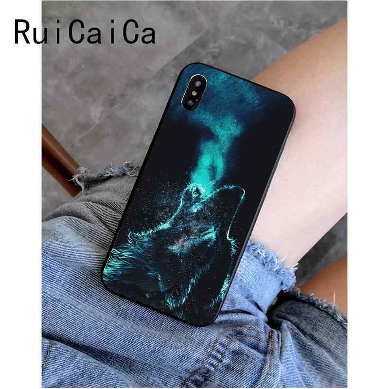 RuiCaiCa Thoáng Mát Mặt Sói Đen Mềm Vỏ Điện Thoại Cho iPhone 8 7 6 6S 6S Plus X XS MAX 5 5S SE XR Cover 11 11pro 11Promax