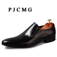 PJCMG Spring/Autumn Men's Genuine Leather Pointed Toe Slip On Dress Black/Red Business Office Wedding For Men Flats Shoes 38 46