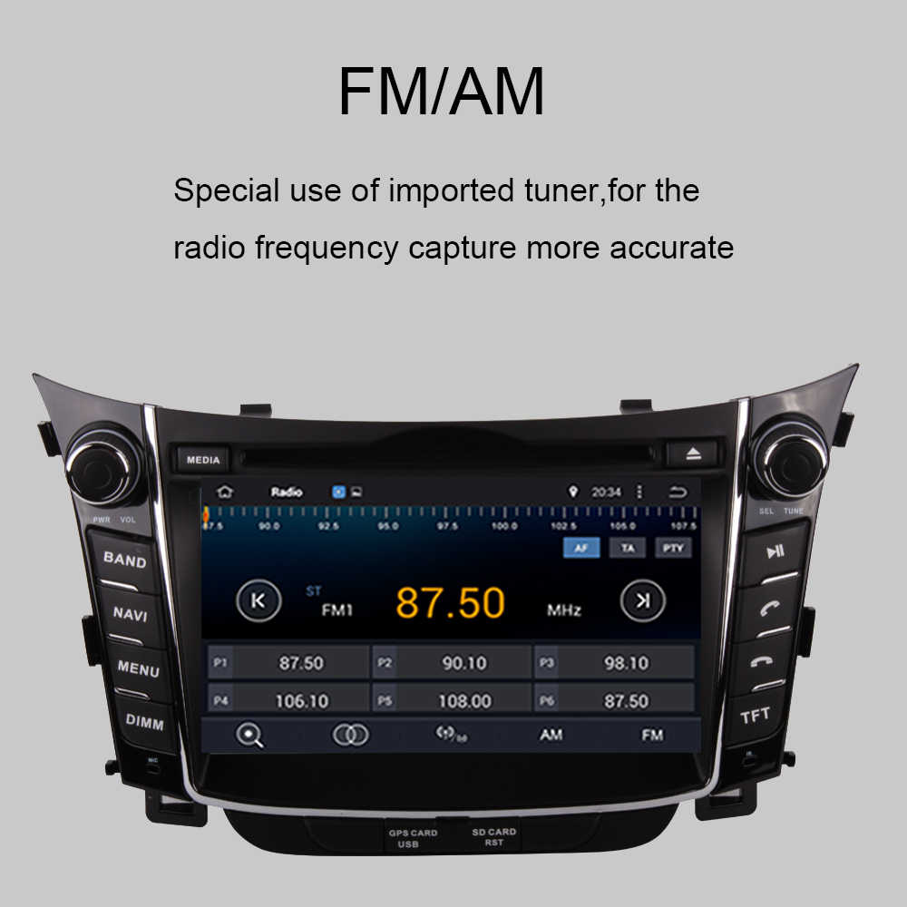 Android 9.0 samochodowy odtwarzacz dvd odtwarzacz nawigacja GPS radioodtwarzacz dla Hyundai I30 2012-2016 multimedialny magnetofon samochodowe stereo ekran radia