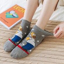 5pairs 2020 New Arrival Cartoon Simpson Family Kawaii Big Eyes Dog Cat Cartoon Ankle Socks