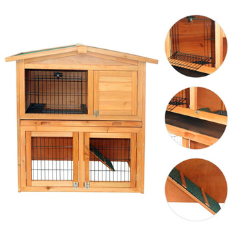 """【US Warehouse】40"""" Triangle Roof Waterproof Wooden Rabbit Hutch A-Frame Pet Cage Wood Small House Chicken Coop Natu"""