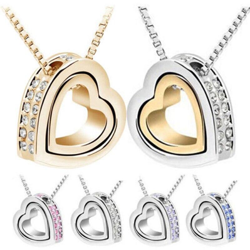 2021 New Quality Austrian crystal AAAA+ rhinestone double Heart Pendant Sweater chain Necklace charm women fashion jewelry