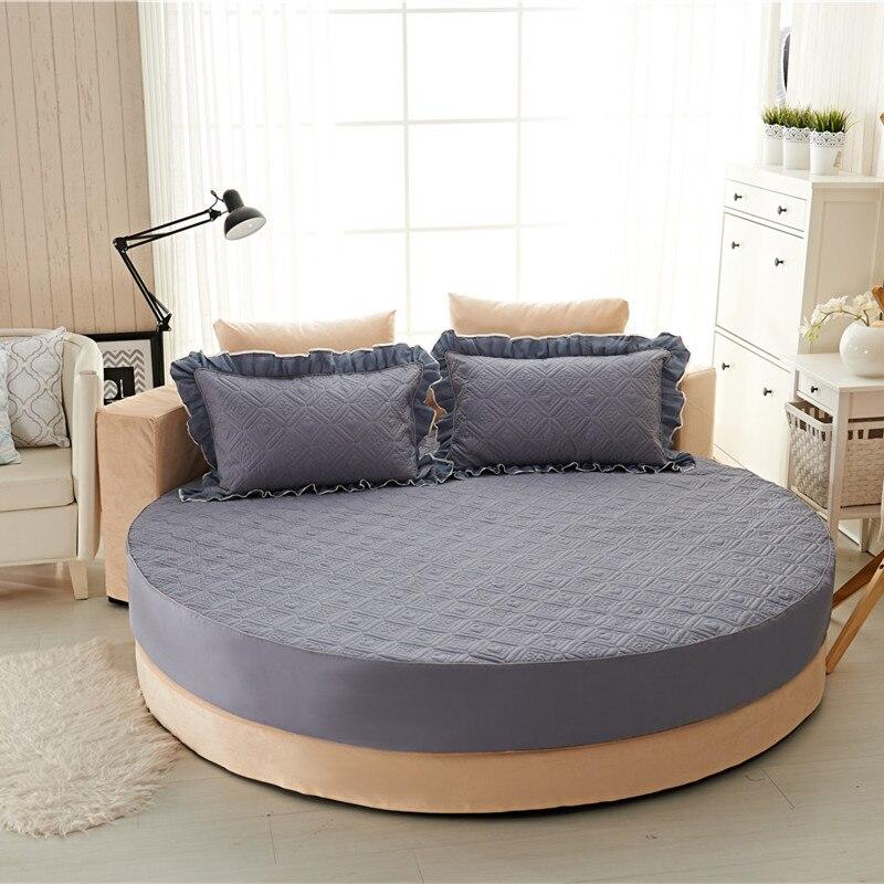 Princesa rodada folha 100% algodão acolchoado tampa de cama lençol 3 pçs/set círculo elástico rei, super king size engrossar algodão pad - 3