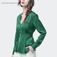 Vintage Ladies Green Blouse Gemstone Buttons Peplum Top Plus Size Long Sleeve V Neck Female Spring Autumn Cardigan Blouses