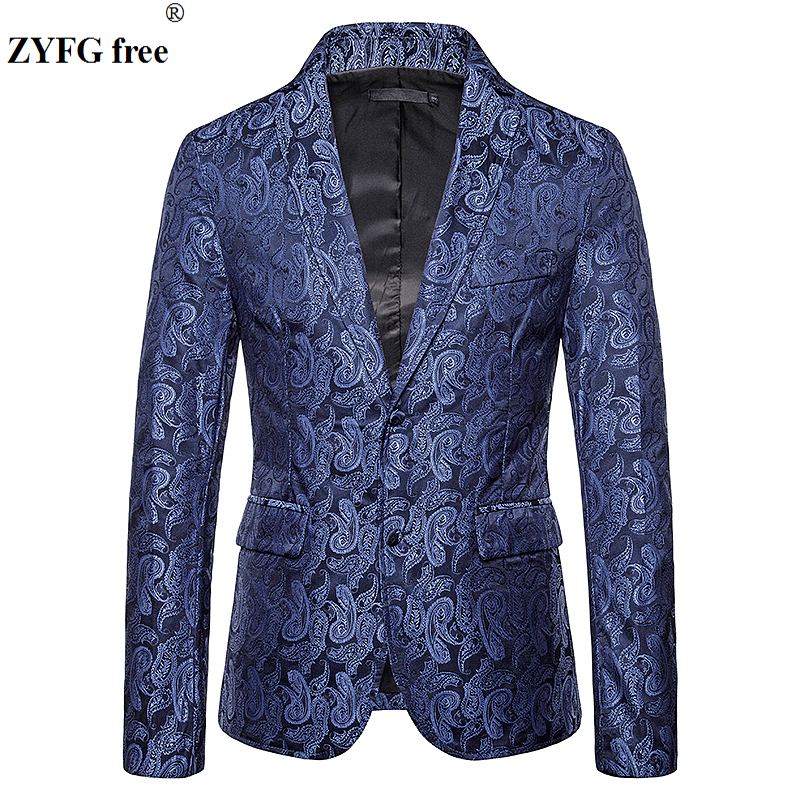 ZYFG free men flowers embroidery Suits & Blazers Cashew flower embroidery pattern suit coat Two buckles design EU size jacket