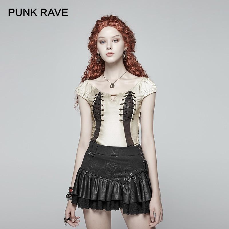T-shirt femme PUNK RAVE nouveau T-shirt Sexy Steampunk laçage coton manches courtes T-shirt Hip Hop Streeerwear