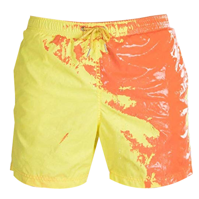 Men Beach Short Change Color Beach Pant For Boy Quick Dry High Temperature Discoloration Male Running Gym Summer Swimming Shorts