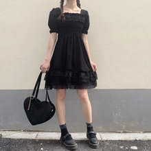 Zoki Elegant Princess Mini Dress Summer Lolita High Waist Sexy Black Lace Plus Size Dress Gothic Puff Sleeve Party Vestidos 2021